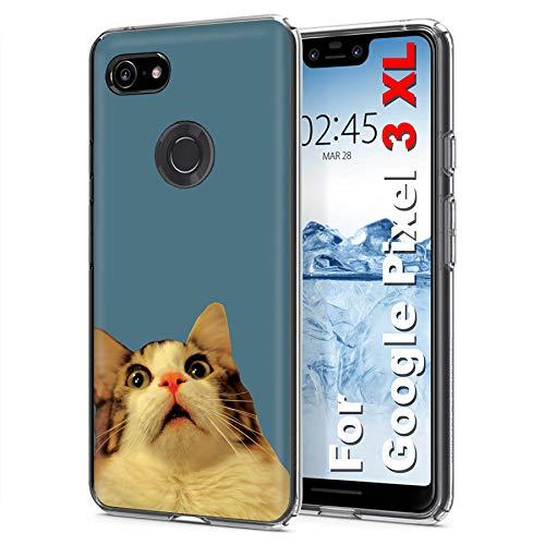 - [Mobiflare] Google [Pixel 3 XL] [6.3 in Screen] Ultraflex Thin Gel Phone Cover [Surprise Cat Print]