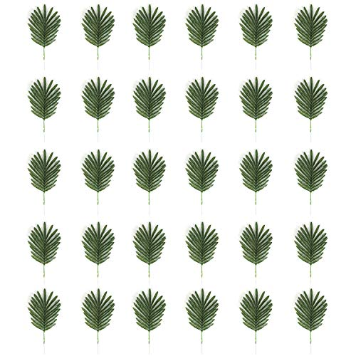 USATDD 30 Pack Artificial Tropical Silk Palm Leaves Fake Imitation Plant Safari Leaf Greenery for Home Decoration and Hawaiian Luau Party Table Theme Decor Supplies Birthday Wedding Christmas Decor