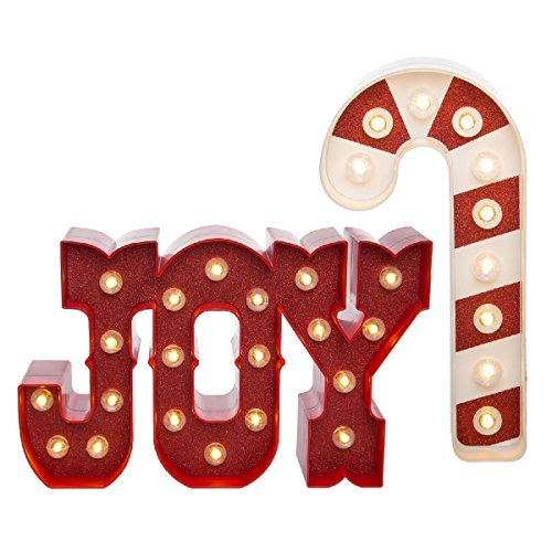 Heidi Swapp (Set of 2 LED Lighted Marquee Holiday Sign Kits Joy & Candy Cane Christmas Décor Home Decorations