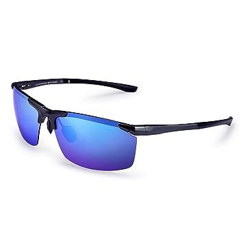 Gafas de sol Unisex de aluminio y magnesio de aleación de cuadros de gradiente de color polarizado gafas de sol Anti-UV hombres (Color : Blue): Amazon.es: ...