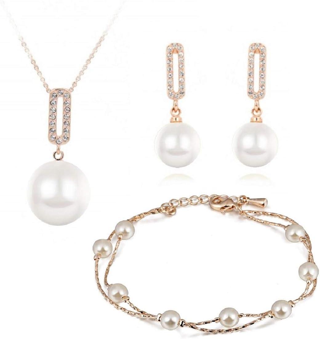Cristal Swarovski Perlas blancas simuladas Juego de joyas Collar con colgante 45 cm Pendientes Pulsera 18k Chapado en oro para mujer