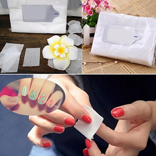 LtrottedJ 800PCS Lint Free Nail Art Gel, Polish Remover Cotton Pad Nail Wipe