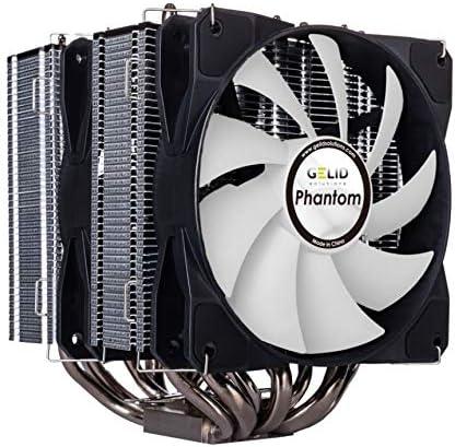 GELID Solutinos Phantom - Disipador de calor de torre doble con 2 ventiladores PWM. Compatible con Intel & AMD - TDP 200W. Pasta térmica incluida.