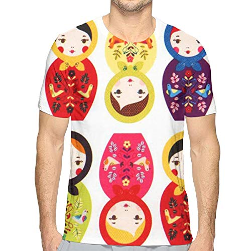 MAGICAI Russian Matryoshka Nesting Dolls Bright Men's Casual Short Sleeve Round Neck Tee Shirts White -