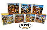 12 Pack- Mini BUILDING Block, Lego Style Vehicle Tractors Sets / Construction Cars for Birthday Party Favors