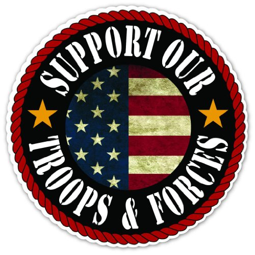 Troops Car Flag - Patriotic Message Support Our Troops and Forces Vintage US Flag Design Vinyl Decal Bumper Sticker 5 Inches X 5 Inches