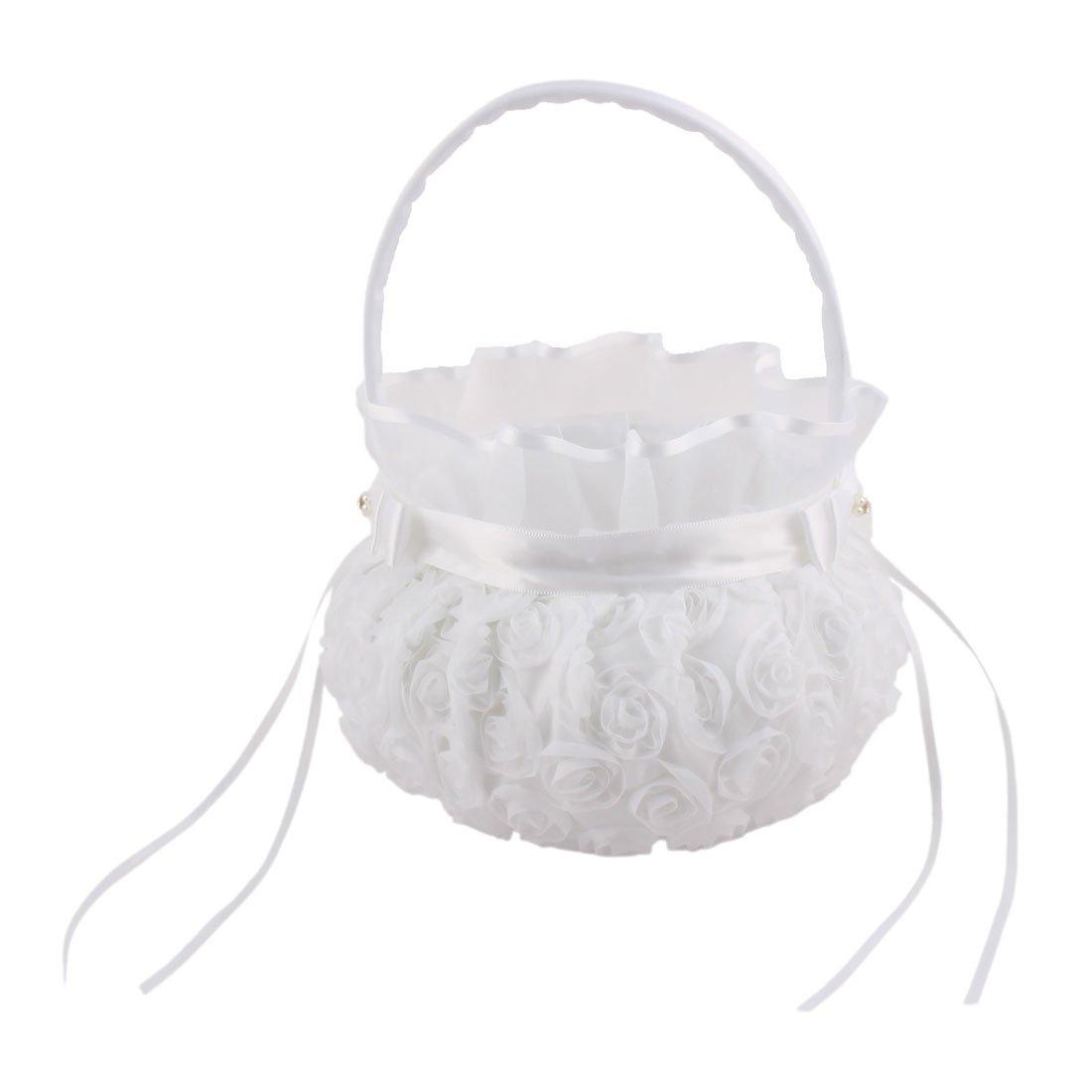 uxcell Satin Wedding Bowknots Rose Decor Petals Storage Flower Girl Carry Basket White