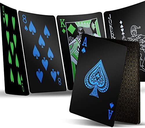 2 Decks Playing Cards, Premium Plastic Waterproof Black Playing Poker Cards Professional Luxury Deck of Cards for Adults