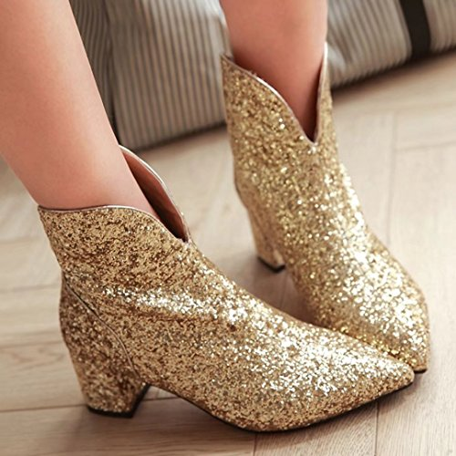 AIYOUMEI Chunky Gold Boots Heels Mid Glitter Womens Toe Ankle Heel Block Zipper High Pointed Boots qr6q5B