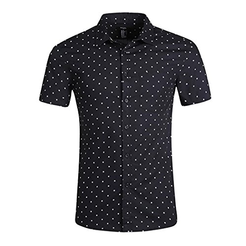 Cut Dot (NUTEXROL Men's Premium Polka Dot Print Casual Shirt Short Sleeve Cotton Shirts Black Star)