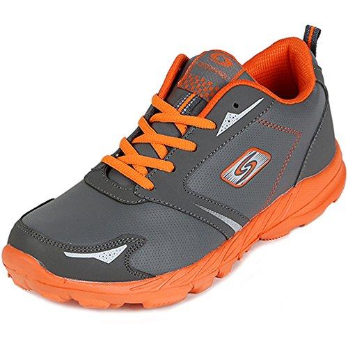 Nieuwe Sport Wandelschoenen Sneakers Heren Hardlooptrainer Casual Atletiek Fitness Schoenen Grijs Oranje