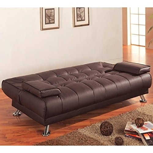 Amazoncom Coaster Futon Sofa Bed with Removable Arm Rests Brown