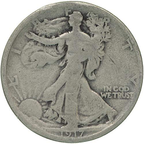 1917 S Walking Liberty Half Dollar Reverse Mintmark 90% Silver Good