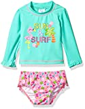 Kiko & Max Girls' Suit Set With Long Sleeve Rashguard Swim Shirt