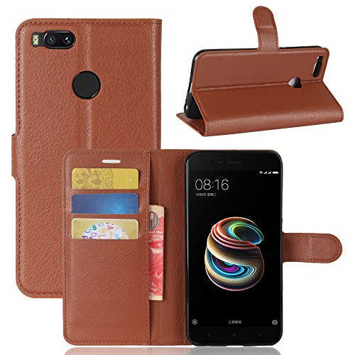 Excelsior Premium Leather Wallet Flip Cover Case for Xioami Mi A1  Inner TPU    Brown