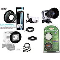 Vivitar 52mm Ring Filter Adapter for GoPro HERO3/ HERO3+/ HERO4 + 52mm Vivitar Professional HD .43x Wide Angle Lens with Macro (MPN: V-52W) + Tristar Optics 62mm Filter UV/CPL Bonus Pack