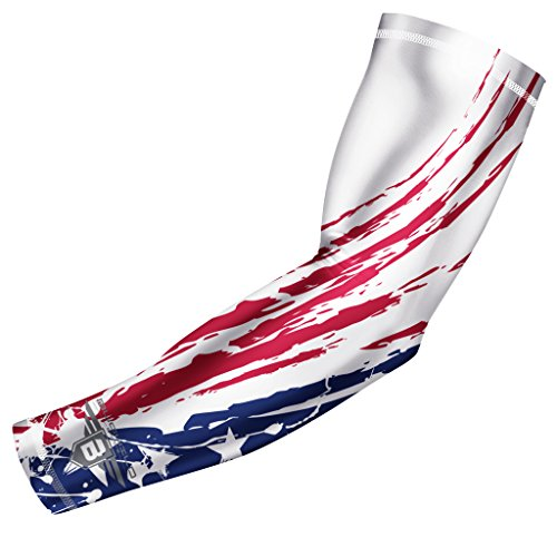 Bucwild Sports Tribal USA Flag Compression Arm Sleeve - Youth & Adult Sizes - Perfect for Baseball Basketball Football + Much More (1 Sleeve - Adult - The Shooter Usa