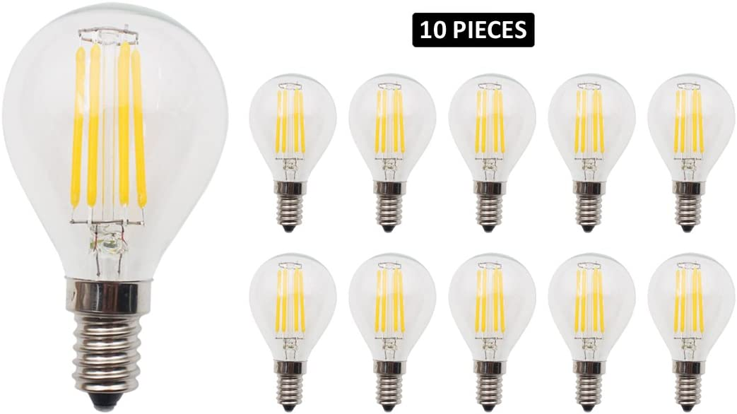 JCKing 10-Pack Dimmable AC 220V 4W G45 E14 Tornillo LED Classic Bombilla de filamento, 40W Bombillas incandescentes de repuesto, Blanco cálido 2700K: Amazon.es: Iluminación