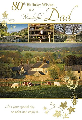 80th Birthday Wishes To A Wonderful Dad Countryside Farm Design Happy Card Amazoncouk Kitchen Home