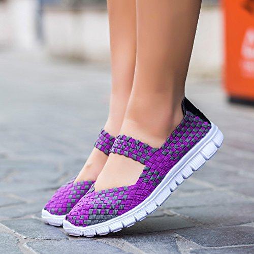 NGRDX&G Mujer Zapatos Deportivos Calzado Casual Mujer Tejido Nailon Transpirable Zapatos De Verano Purple