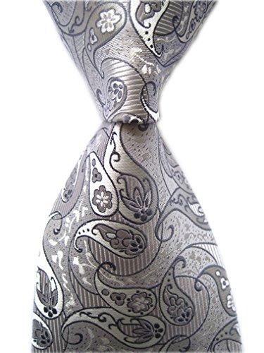 Secdtie Men's Striped Paisley Silver Grey Jacquard Woven Silk Tie Necktie C05 (Tie Paisley Grey)