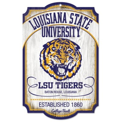NCAA College Vault Louisiana State Fightin Tigers 11-by-17 Wood Sign