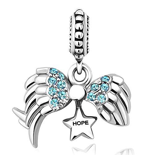 Roy Lopez Angel Wings Open Heart Hope Dangle Charm Bead For Snake Bracelets