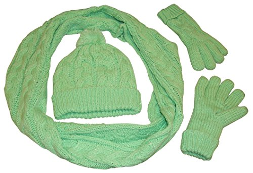 Scarf Fleece Green (N'Ice Caps Womens Fleece Lined Cable Knit 3PC Set With Metallic Specks (One size fits all womens, Lime/Metallic Specks))