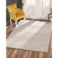 Delphia Rugs Soft Beige Anatolia Plush Shag Rug – Elegant Cozy Floor Rug with Premium Large Fluffy Texture for Living / Dining Room and Bedroom Area