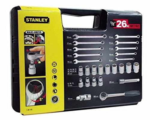 Stanley Steckschlüssel-Set 1/2 Zoll 26-teilig, Umschaltknarre mit Selbstauslösung, Maulschlüssel 8-19mm, 1-89-105