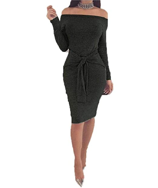 870bcb9ae4c6 Sexy Party Winter Dress Off Shoulder Waistband Long Sleeve Sheath Midi Dresses  Black S