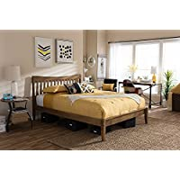 Baxton Studio Edeline Queen Platform Bed in Walnut