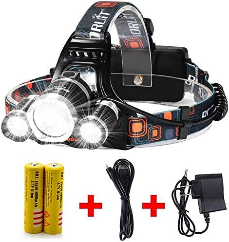 900000 Lumens 5 LED Zoom Headlamp Headlight Rechargeable+18650 Battery torch RP