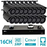 GW 16 Channel H.265 NVR 5-Megapixel Security Camera System, 16pcs 5MP 1920p 3.6mm Wide Angle POE Weatherproof Bullet IP Cameras, 80ft Night Vision