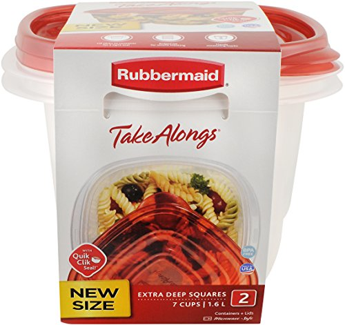 Deep Square Container (Rubbermaid TakeAlongs 7-Cup Extra-Deep Squares Food Storage Containers, 2-Pack, Chili Red)