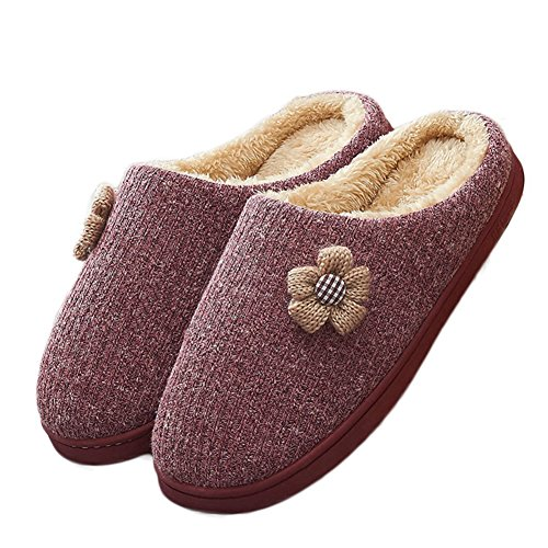 Cybling Dames Winter Lovely Flowers Comfort Indoor House Pantoffel Gevoerde Dikke Zool Diep Rood