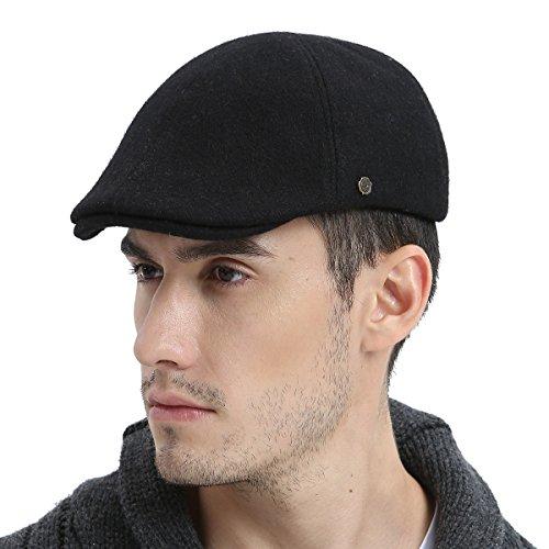 VOBOOM Mens Winter Wool Blend Newsboy Cap Warm Flat Ivy Driving Cap (Blend Newsboy)