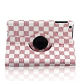 TOPCHANCES Ultra Slim Lightweight White Elegant PU Leather Graid Pattern Case Cover for iPad 2 3 4 with Smart Auto Wake / Sleep Capability-Pink
