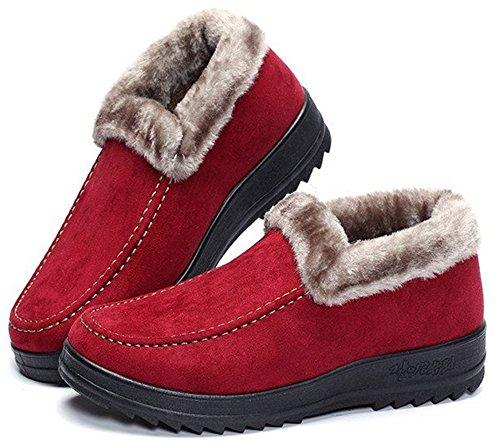 Labato Style Da Donna Invernale Corto Da Neve Caldo Slip-on Da Passeggio Scarpa Foderata In Pelliccia Rossa