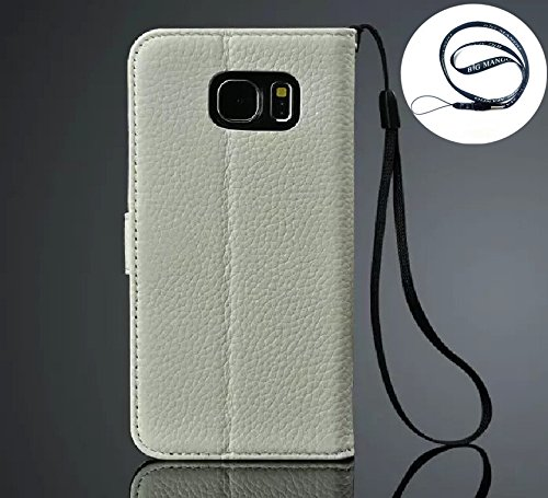 """Multipurpose Business Style Fashion Litchi Print Samsung S6 Skin Wristlet Case Flip Folio Super High Quality Genuine Leather Case and Wallet Cover for Samsung Galaxy S6 with Multiple ID Card Holders & Magnet Closure & Convertible Stand & Photo Display Window View,""""BIG MANGO"""" Logo Long Neck Strap - White"""