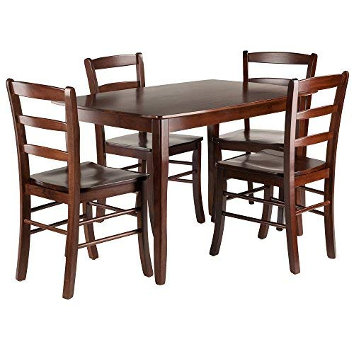 Winsome Wood 94508 Inglewood 5-PC Set Table w/ 4 Ladderback Chairs Dining, Walnut
