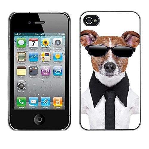 Premio Sottile Slim Cassa Custodia Case Cover Shell // V00001660 chien en noir // Apple iPhone 4 4S 4G