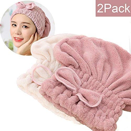 SweetCat  2PC Microfiber Hair Drying Caps, Extrame Soft & Ultra Absorbent, Fast Drying Hair Turban Wrap Towels Thick Fluffy Shower Cap for Girls and Women (Pink+Beige) (Net Wrap Hair)