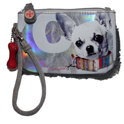 Fuzzy Nation Chihuahua Dog Wristlet Wallet Coin Purse Faux Fur