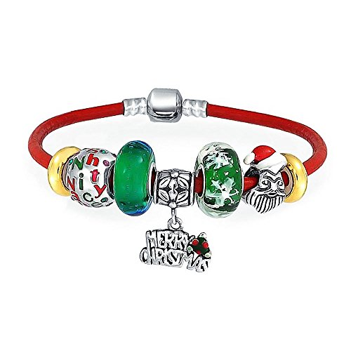 Merry Christmas Holiday Santa Clause Naughty Nice Theme Bead Charm Bracelet Genuine Leather For Women Sterling ()