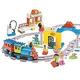 Minmi Motorized Train Set and Tracks Building Blocks - Battery Operated (107 Piece Set - Jumbo)