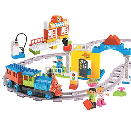 (Minmi Motorized Train Set and Tracks Building Blocks - Battery Operated (107 Piece Set - Jumbo))