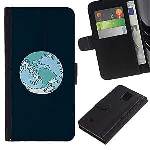 JackGot ( Órbita de la Tierra de la historieta ) Samsung Galaxy Note 4 IV la tarjeta de Crédito Slots PU Funda de cuero Monedero caso cubierta de piel
