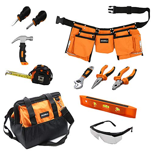 AKABELA First Tool Set – Real Tool Set for Kids Steel Forged Tools for Children Kids Toolbelt Child-Sized Tools Tool Bag for Kids Real Tools for Boys Tool Set for Girls Tools for Small Hands
