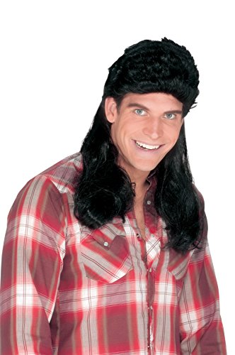 [UHC Long Bogan Mens Super Mullet 70S 80S Rock Redneck Halloween Costume Wig (Black)] (Redneck Costumes For Women)